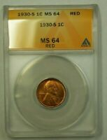 1930-S LINCOLN WHEAT CENT 1C ANACS MINT STATE 64 RED T WW