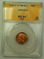 1930-S LINCOLN WHEAT CENT 1C ANACS MINT STATE 64 RED V WW