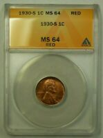 1930-S LINCOLN WHEAT CENT 1C ANACS MINT STATE 64 RED R WW