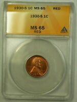 1930-S LINCOLN WHEAT CENT 1C ANACS MINT STATE 65 RED A WW