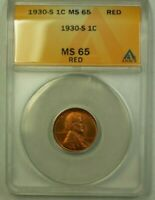 1930-S LINCOLN WHEAT CENT 1C ANACS MINT STATE 65 RED D WW