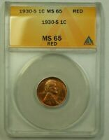 1930-S LINCOLN WHEAT CENT 1C ANACS MINT STATE 65 RED E WW