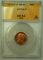 1930-S LINCOLN WHEAT CENT 1C ANACS MINT STATE 64 RED H WW