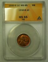 1930-S LINCOLN WHEAT CENT 1C ANACS MINT STATE 65 RB F WW