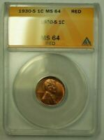 1930-S LINCOLN WHEAT CENT 1C ANACS MINT STATE 64 RED Q WW
