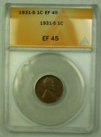 1931-S LINCOLN WHEAT CENT 1C ANACS EF-45 C WW