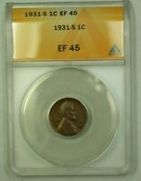 1931-S LINCOLN WHEAT CENT 1C ANACS EF-45 F WW