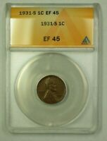 1931-S LINCOLN WHEAT CENT 1C ANACS EF-45 I WW