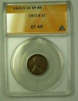 1931-S LINCOLN WHEAT CENT 1C ANACS EF-45 R WW