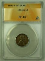 1931-S LINCOLN WHEAT CENT 1C ANACS EF-45 W WW