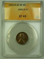 1931-S LINCOLN WHEAT CENT 1C ANACS EF-45 X WW