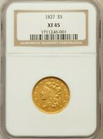 AUCTION: 1837 $5 NGC XF45   71/307  CLASSIC GOLD HALF EAGLE