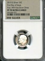 2019 S FIRST .999 FINE SILVER 10C FIRST DAY OF ISSUE NGC PF7