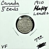 1910 CANADA 5 CENTS SILVER COIN HOLLY LEAVES EDWARD VII VF