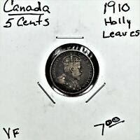 1910 CANADA 5 CENTS SILVER COIN KING EDWARD VII HOLLY LEAVES VF
