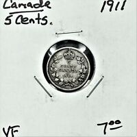 1911 CANADA 5 CENTS SILVER COIN KING GEORGE V VF