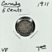 1911 CANADA 5 CENTS SILVER COIN GEORGE V VF