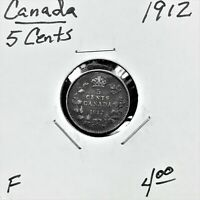 1912 CANADA 5 CENTS SILVER COIN KING GEORGE V F