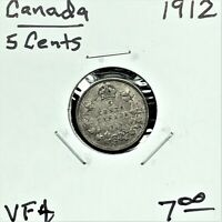1912 CANADA 5 CENTS SILVER COIN KING GEORGE V VF