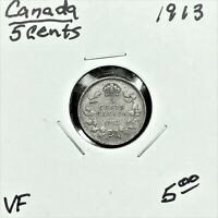1913 CANADA 5 CENTS SILVER COIN KING GEORGE V VF