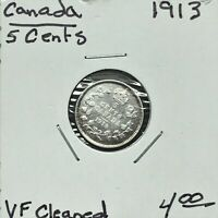 1913 CANADA 5 CENTS SILVER COIN KING GEORGE V VF CLEANED