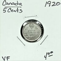 1920 CANADA 5 CENTS SILVER COIN KING GEORGE V VF