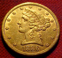 1886 S FIVE DOLLAR HALF EAGLE GOLD COIN  ..MIN. BID .01 &