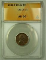 1931-S LINCOLN WHEAT CENT 1C ANACS AU-50 B WW