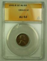 1931-S LINCOLN WHEAT CENT 1C ANACS AU-53 D WW
