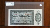 1923 CITY OF AACHEN GERMANY 100 MILLION MARK NOTE     STAR REPLACEMENT NOTE