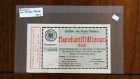 1923 CITY OF ERKELENZ GERMANY 100 MILLION MARK LOCALLY ISSUED INFLATION NOTE