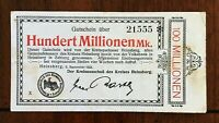 1923 CITY OF HEINSBERG GERMANY 100 MILLION MARK LOCALLY ISSUED INFLATION NOTE