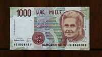 1990 ITALY 1000 LIRE BANKNOTE PICK 114C SERIAL 892810