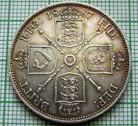 GREAT BRITAIN QUEEN VICTORIA 1887 JUBILEE FLORIN   2 SHILLINGS SILVER PATINA
