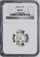 1902-S BARBER 10C NGC MINT STATE 65