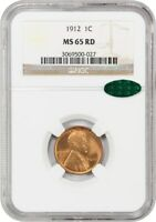 1912 1C NGC/CAC MINT STATE 65 RD - LINCOLN CENT