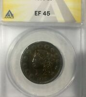 1833 LARGE CENT PLEASING ANACS EF 45 STRAIGHT GRADE MID BROWN NICE COIN ROTATED