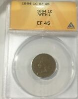 1864 L   KEY DATE  INDIAN HEAD CENT  EF45 ANACS PLEASING  COIN GOOD EYE APPEAL