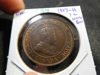C34 CANADA 1907 H LARGE CENT UNC BROWN KEY DATE
