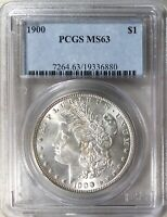 1900 CERTIFIED PCGS MINT STATE 63 UNCIRCULATED MORGAN DOLLAR OLD 90 SILVER COIN 089