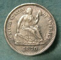 1870 SEATED LIBERTY SILVER HALF DIME CHOICE XF    UNITED STA