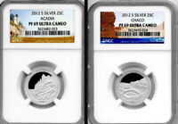 2012 S ACADIA & CHACO ATB NATIONAL PARKS SILVER QUARTERS NGC