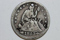 CENTER STAMPED 1853-D FINE LIBERTY SEATED SILVER QUARTER WITH ARROWS SLQ450