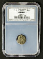 1613-17 BOLIVIA REAL KM 7 SPANISH COLONY PIRATE SILVER COB NCS VG DETAILS