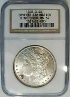 1898 O SILVER MORGAN DOLLAR NGC MINT STATE 64 LAMINATION RETAINED METAL MINT ERROR COIN