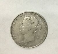 CANADA 1881 H   50 CENTS SILVER VICTORIA DECENT CIRCULATED EXAMPLE LT RIM DING