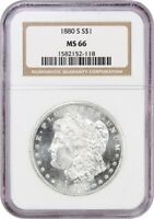 1880-S $1 NGC MINT STATE 66 - MORGAN SILVER DOLLAR