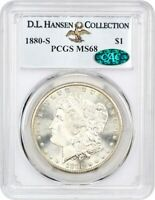 1880-S $1 PCGS/CAC MINT STATE 68 EX: D.L. HANSEN COLLECTION - BLAZING WHITE