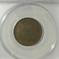 1867 AU55   ANACS TWO CENTS  NICE EVEN BROWN  DIE CRACKS  TYPE COIN