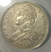 1838 BUST HALF DOLLAR  NICE  ANACS AU 50 DETAILS ONCE LIGHT CLEANED STILL NICE